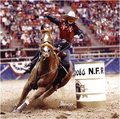 Joyce Jackson riding Trent Tivio at the National Finals Rodeo in Las Vegas, Nevada